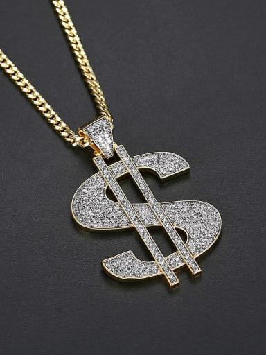 Brass Cubic Zirconia Letter Hip Hop Initials Necklace