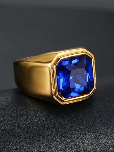 Gold Blue Gem Titanium Glass Stone Geometric Vintage Solitaire Ring