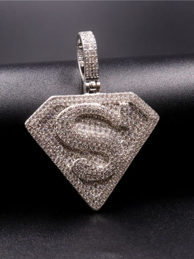 Silver with chain Copper Cubic Zirconia Irregular Hip Hop Initials  Pendant Necklace