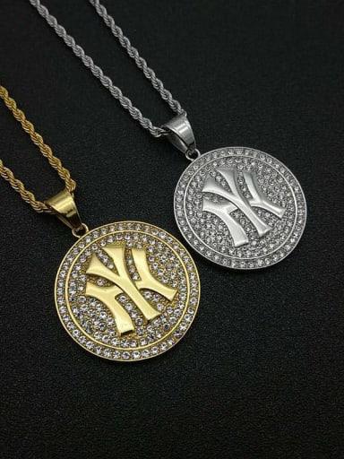 Titanium Rhinestone Round Hip Hop Initials Necklace