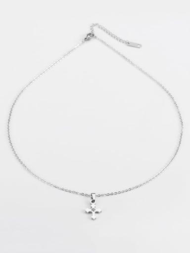 Steel color Titanium Religious Minimalist  cross Necklace
