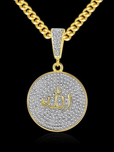 White zirconium  t20d03 Copper Cubic Zirconia Round Hip Hop Necklace