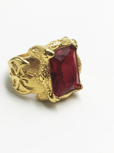 Golden red gem Stainless steel Glass Stone  Retro geometry  Solitaire Ring