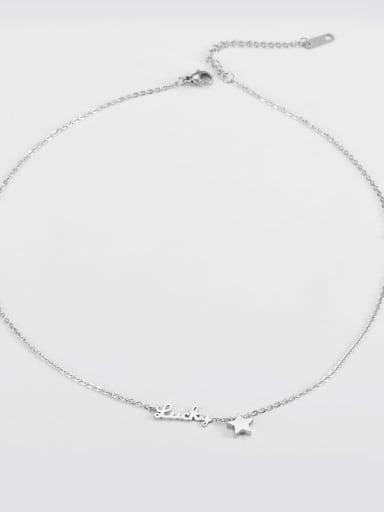 Steel color Titanium Simple star alphabet necklace