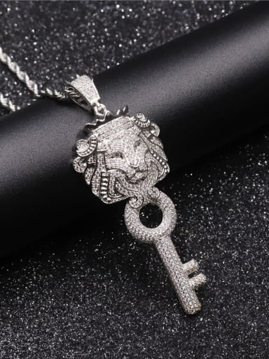 Silver with chain Copper Cubic Zirconia Key Hip Hop Pendant Necklace