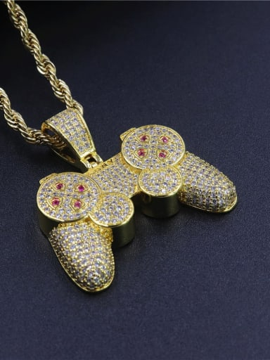 Copper Cubic Zirconia Irregular Hip Hop Pendant  Necklace