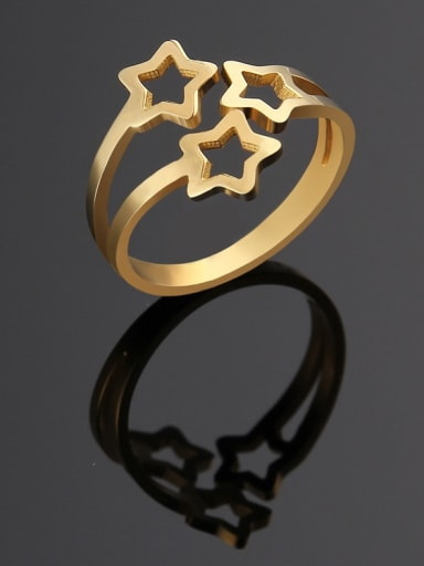 golden Titanium  Hollow  Star Minimalist Band Ring