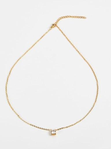 golden Titanium Cubic Zirconia Locket Necklace