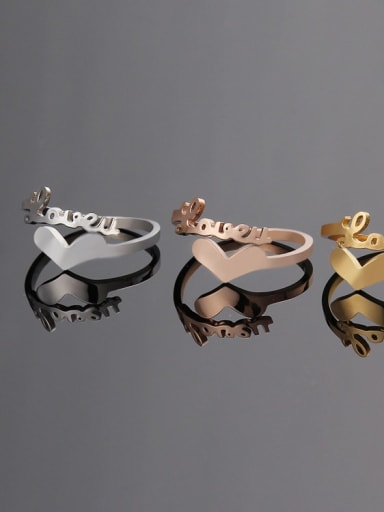 Titanium Letter Minimalist Band Ring