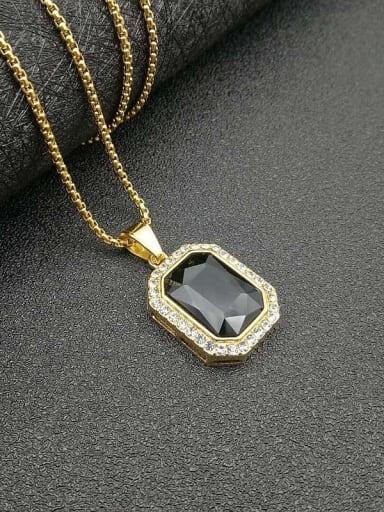 Titanium Glass Stone Rectangle Hip Hop Necklace