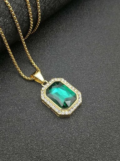 Green glass stone necklace Titanium Glass Stone Rectangle Hip Hop Necklace