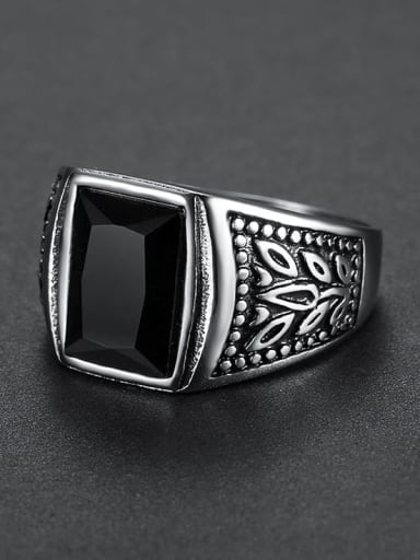 black Stainless steel Glass Stone  Irregular Vintage Solitaire Ring