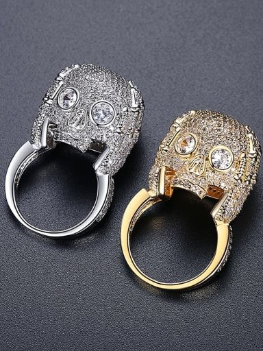 Brass Cubic Zirconia Skull Statement Band Ring