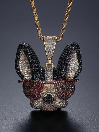 Copper Cubic Zirconia Dog Hip Hop Necklace
