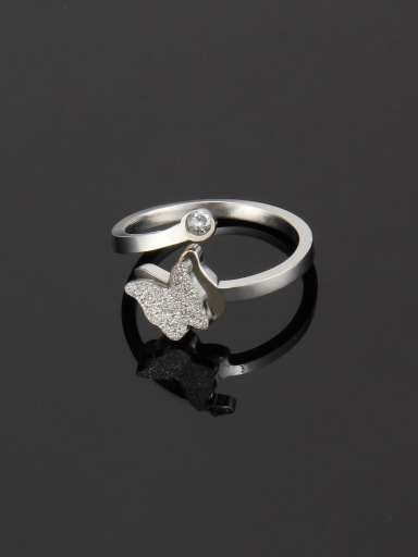 Steel color Titanium Simple butterfly  Band Ring