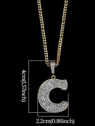 C 24in 60cmT20B03 Brass Cubic Zirconia Letter Hip Hop Initials Necklace