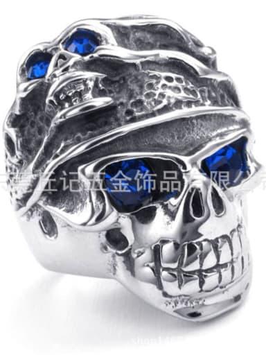 Stainless steel blue eyes Skull Vintage Band Ring