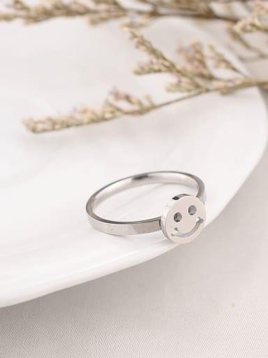 Steel color Titanium  Minimalist  Smiley Band Ring