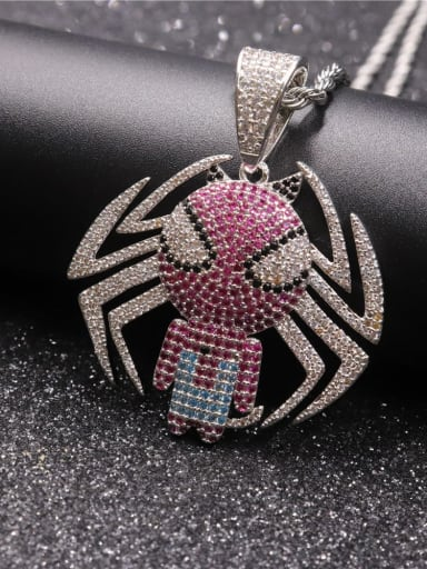 Silver with chain Copper Spider Cubic Zirconia Irregular Hip Hop Pendant  Necklace