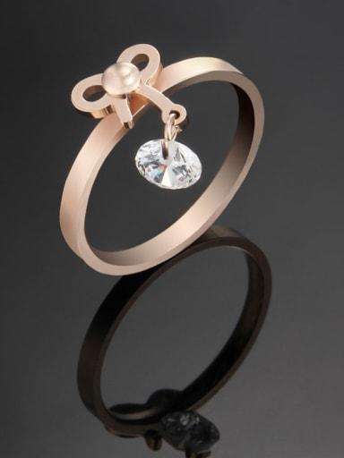 rose gold Titanium Bowknot Minimalist Band Ring