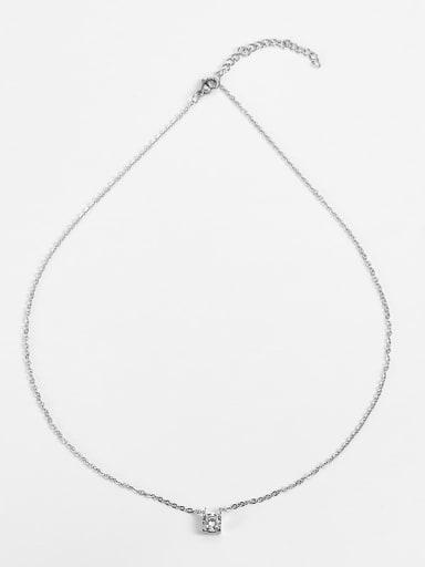 Steel color Titanium Cubic Zirconia Locket Necklace