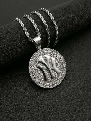 Silver Necklace Titanium Rhinestone Round Hip Hop Initials Necklace