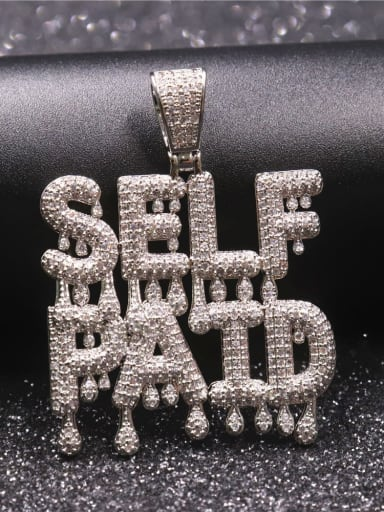 Silver with chain Copper Cubic Zirconia Letter Hip Hop Initials Pendant Necklace