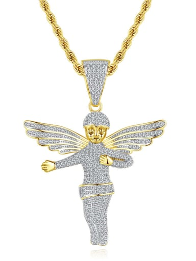 Brass Angel Cubic Zirconia Wing Hip Hop Necklace