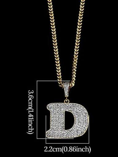 D 24in 60cmT20B04 Brass Cubic Zirconia Letter Hip Hop Initials Necklace