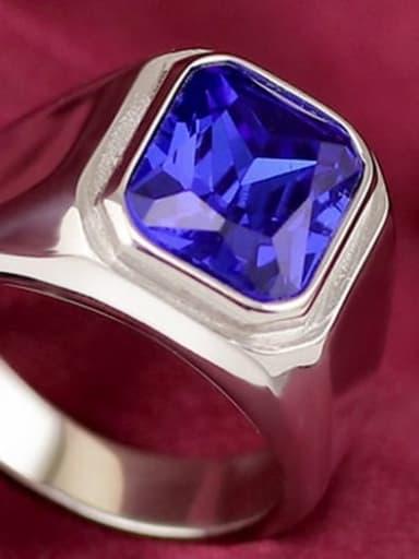 Steel blue gem Titanium Glass Stone Geometric Vintage Solitaire Ring