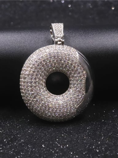 All silver with chain Copper Cubic Zirconia Round Hip Hop  Pendant Necklace