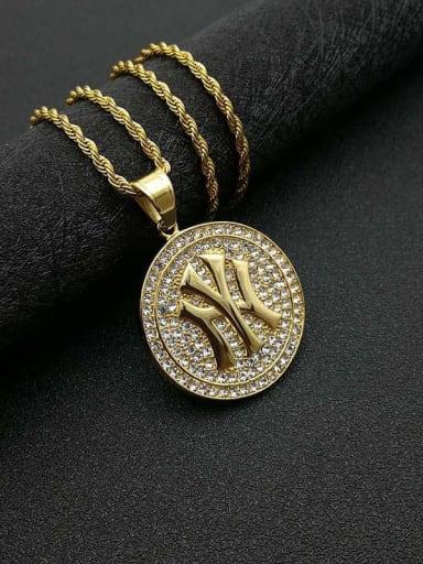Gold Necklace Titanium Rhinestone Round Hip Hop Initials Necklace