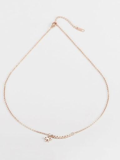 rose gold Titanium Bowknot Minimalist Necklace