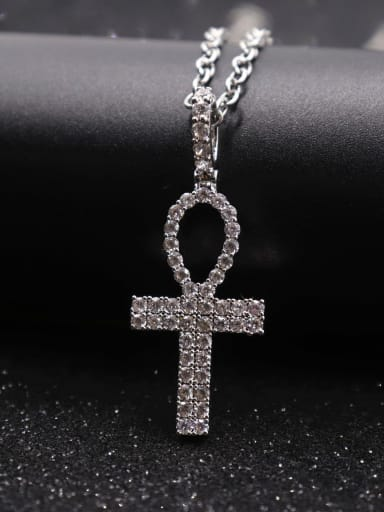 Silver with chain Copper Cubic Zirconia Cross Hip Hop Pendant Necklace