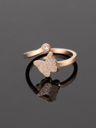 Rose Gold Titanium Simple butterfly  Band Ring