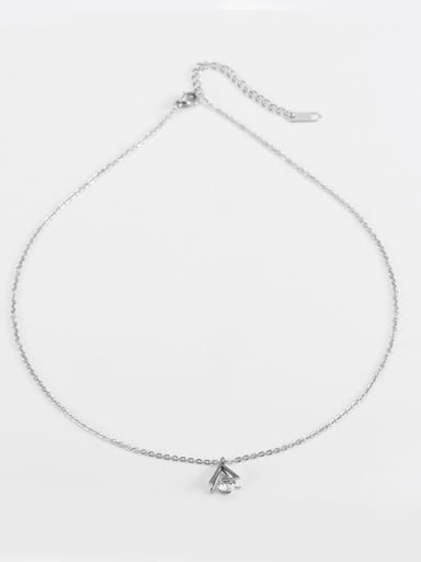 Steel color Titanium Cubic Zirconia Triangle Pendant Necklace