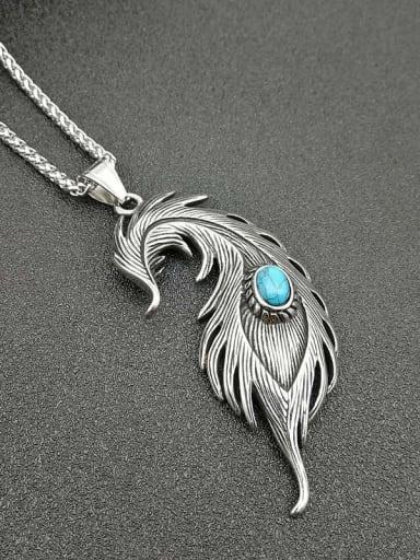 Titanium feather Turquoise Feather Hip Hop Necklace