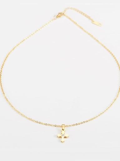 golden Titanium Religious Minimalist  cross Necklace