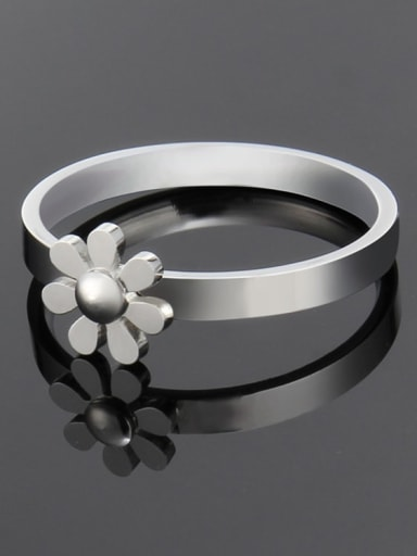 Steel color Titanium Minimalist smooth flower band  Ring