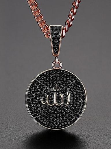 Black zirconium  t20d02 Copper Cubic Zirconia Round Hip Hop Necklace