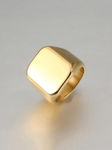 golden Titanium Square Minimalist Mens Ring