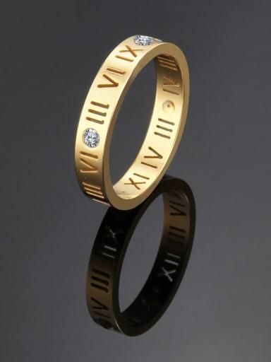 Titanium Number Cutout Minimalist Band Ring