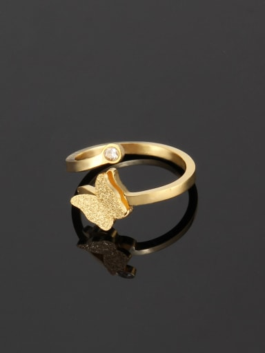 golden Titanium Simple butterfly  Band Ring
