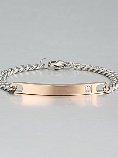7  rose Titanium Cubic Zirconia Minimalist geometry  Link Bracelet