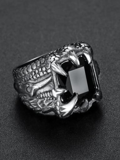 black Titanium Glass Bead Geometric Vintage Solitaire Ring