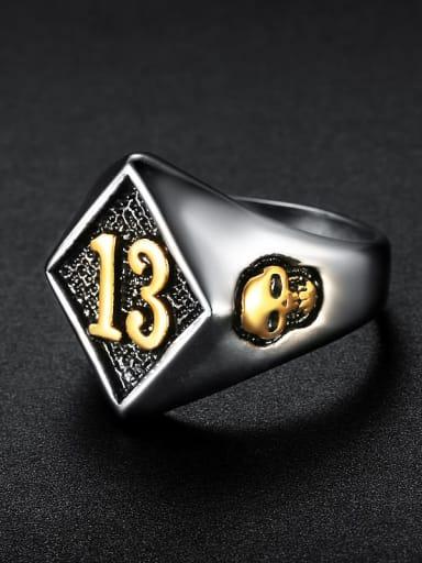 Between gold smear Stainless steel digital  Skull Vintage Band Ring