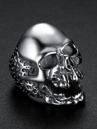 Steel color Stainless steel Skull Vintage Band Ring