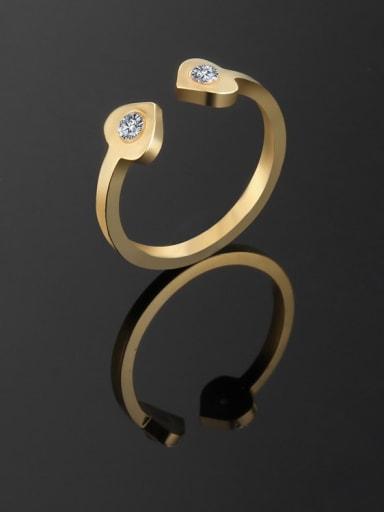 golden Titanium Heart Minimalist Ring