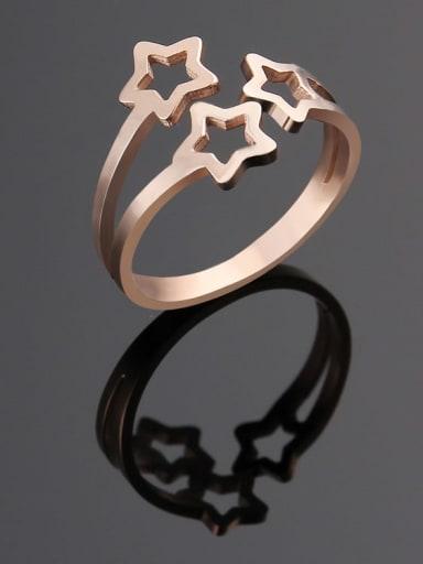 rose gold Titanium  Hollow  Star Minimalist Band Ring
