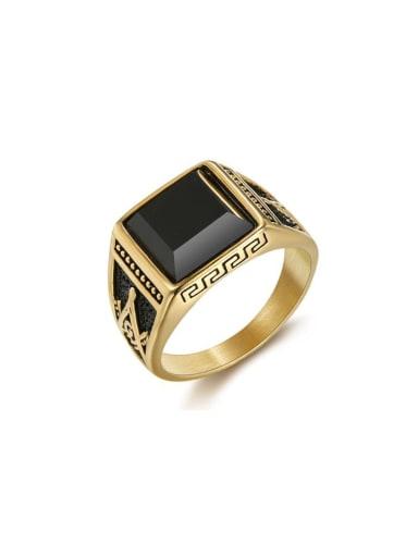 Titanium Square Vintage Band Ring